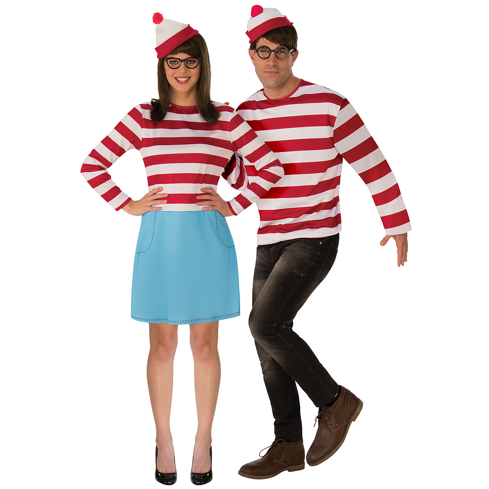 Adult Wenda & Waldo Couples Costumes - Where's Waldo Image #1
