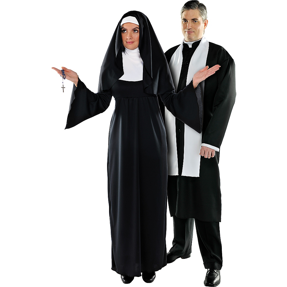 Sexy priest and nun couple costume, pretty phat black pussy