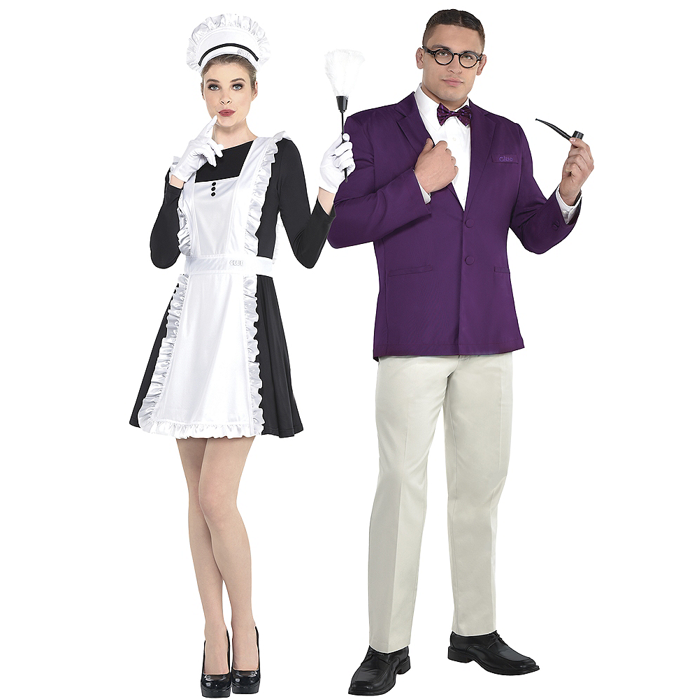 Adult Mrs. White & Professor Plum Couples Costume Accessory Kits - Clue Image #1