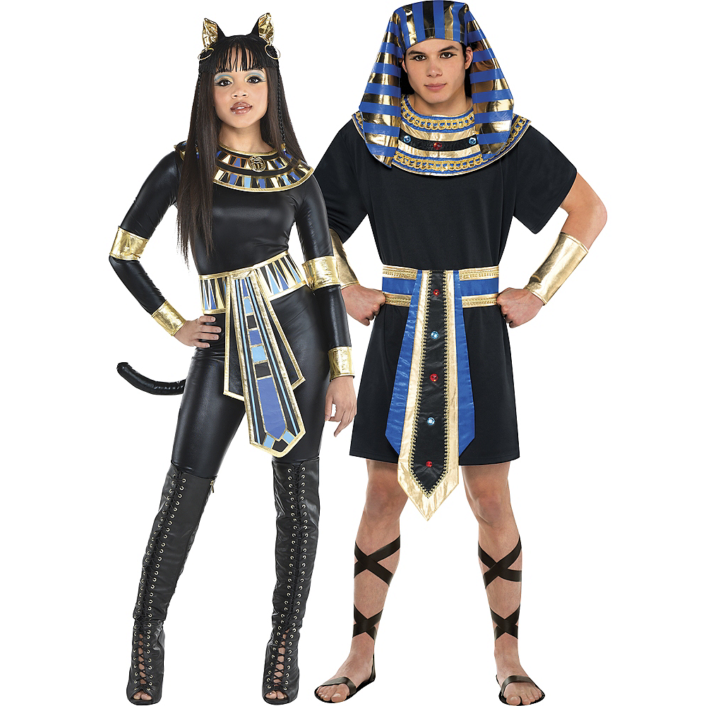 Adult Egyptian Bastet Goddess & Egyptian Pharaoh Couples Costumes Image #1