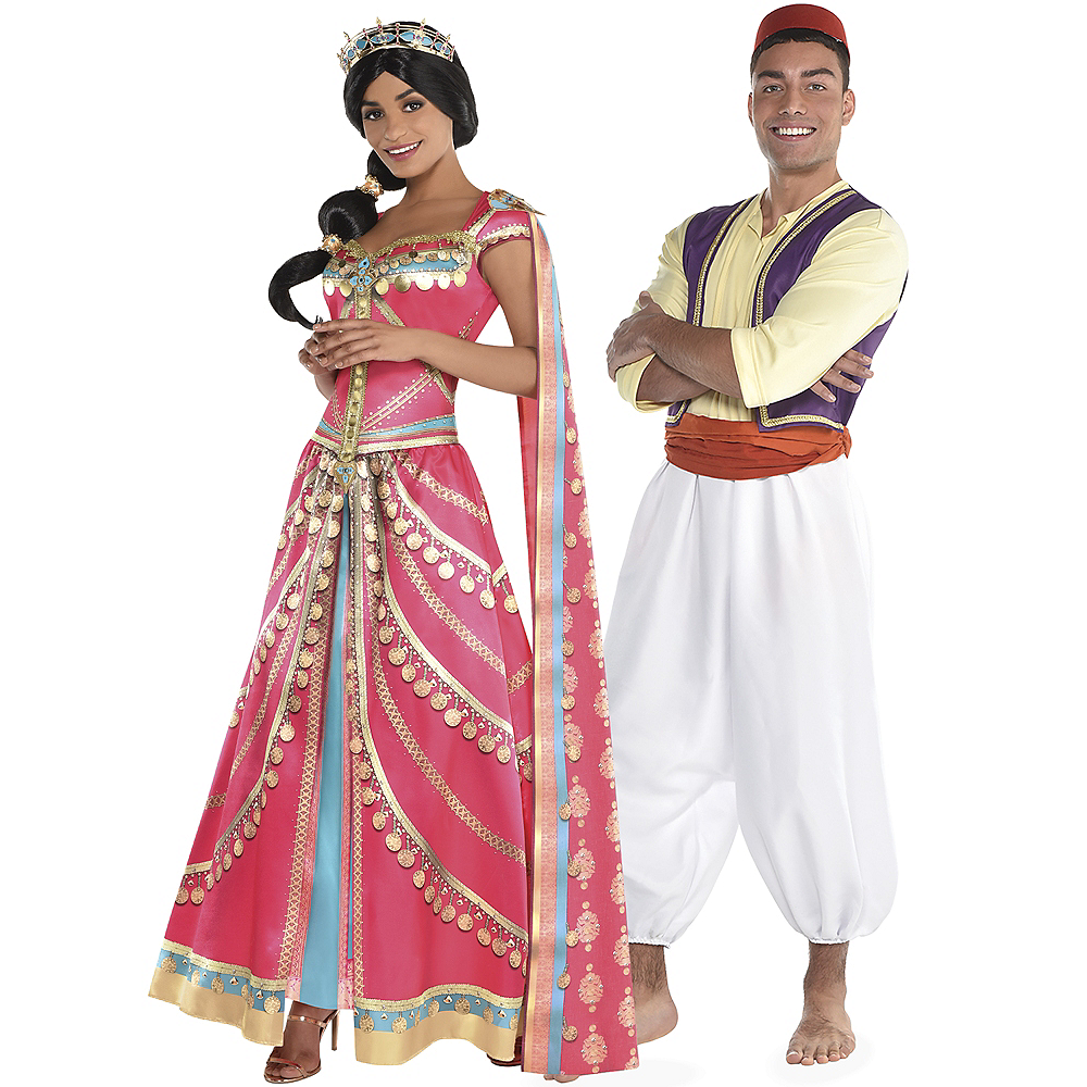 Adult Royal Jasmine & Aladdin Couples Costumes Image #1