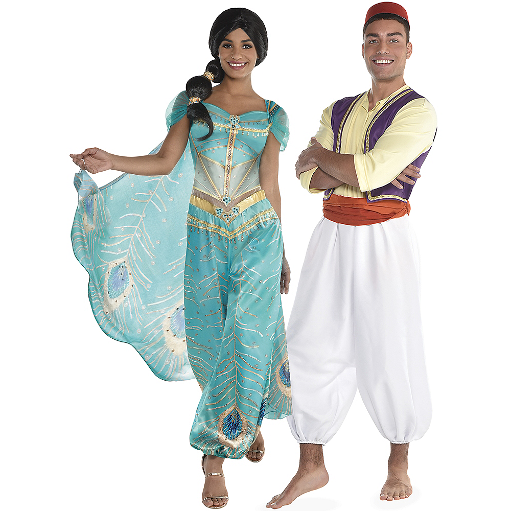 Adult Jasmine Whole New World & Aladdin Couples Costumes Image #1