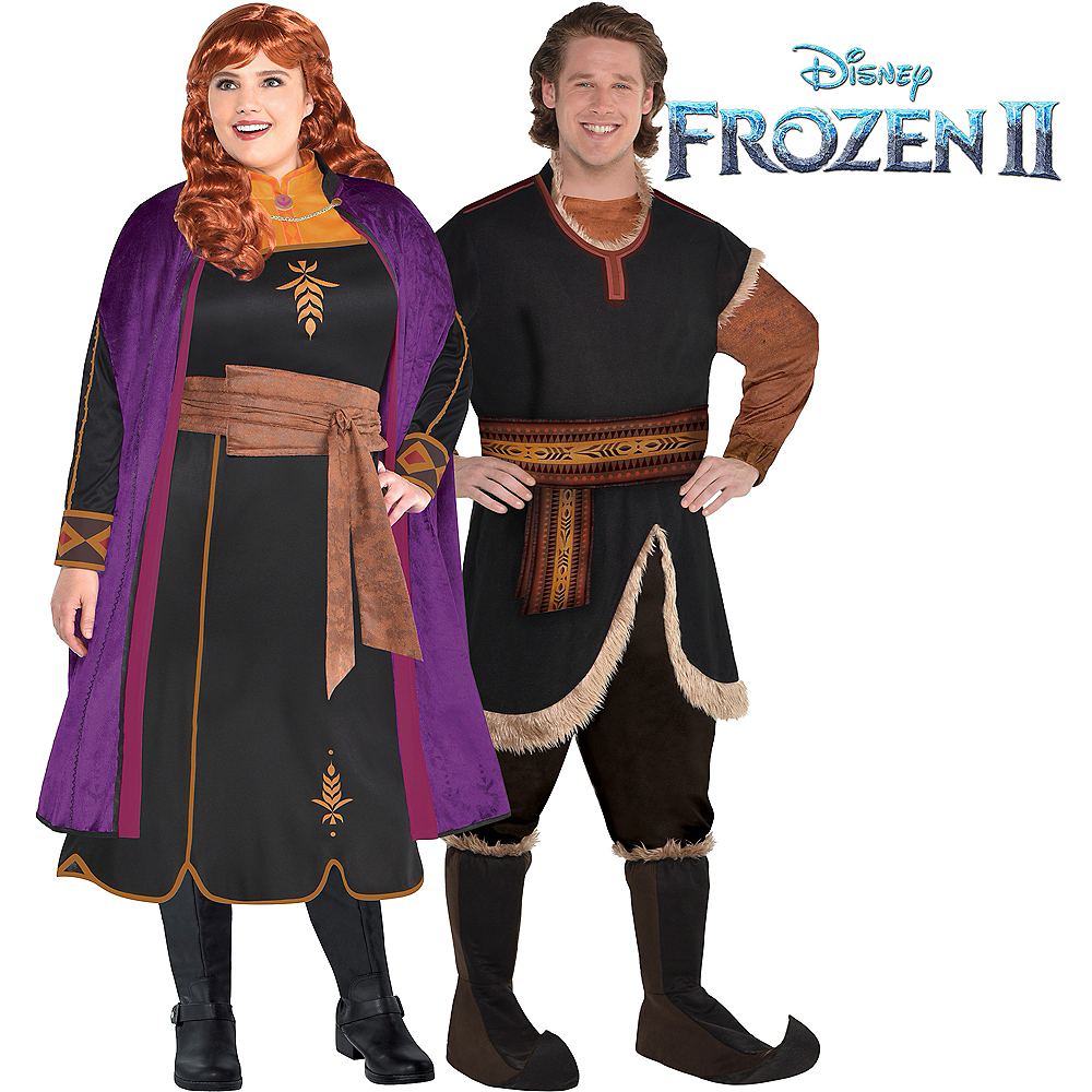 Adult Act 2 Anna & Kristoff Couples Costumes Plus Size - Frozen 2 Image #1