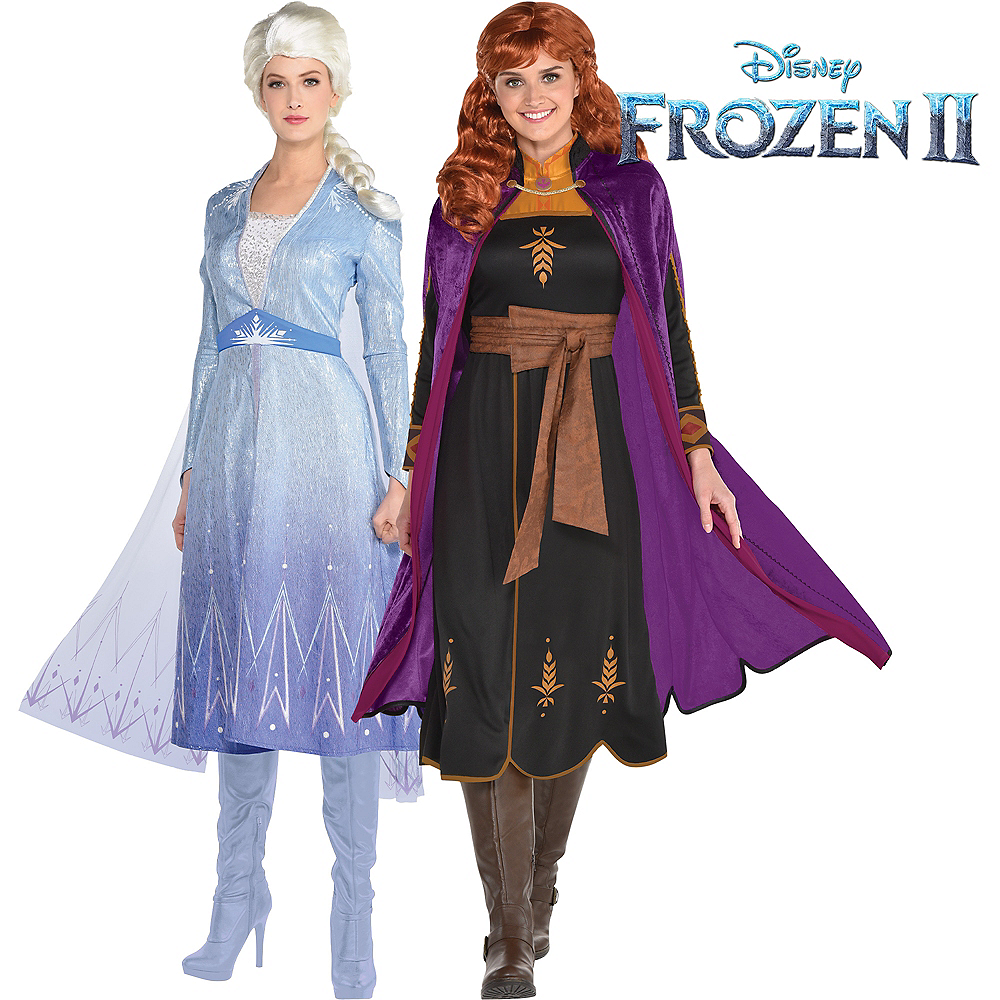 Adult Act 2 Elsa & Anna Couples Costumes - Frozen 2 Image #1