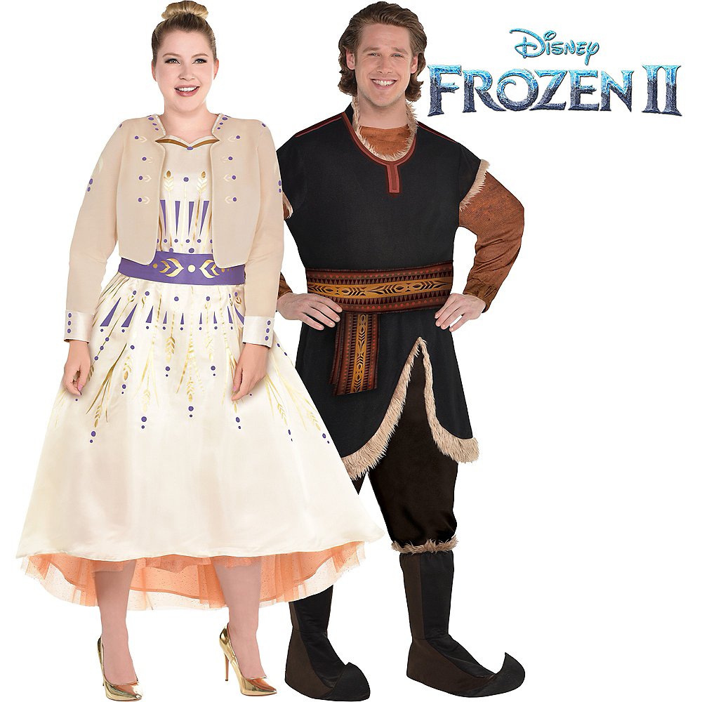 Adult Act 1 Anna & Kristoff Couples Costumes Plus Size - Frozen 2 Image #1