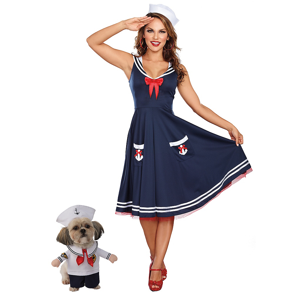 Nav Item for Adult All Aboard Sailor Costume & Walking Sailor Doggy & Me Costumes Image #1
