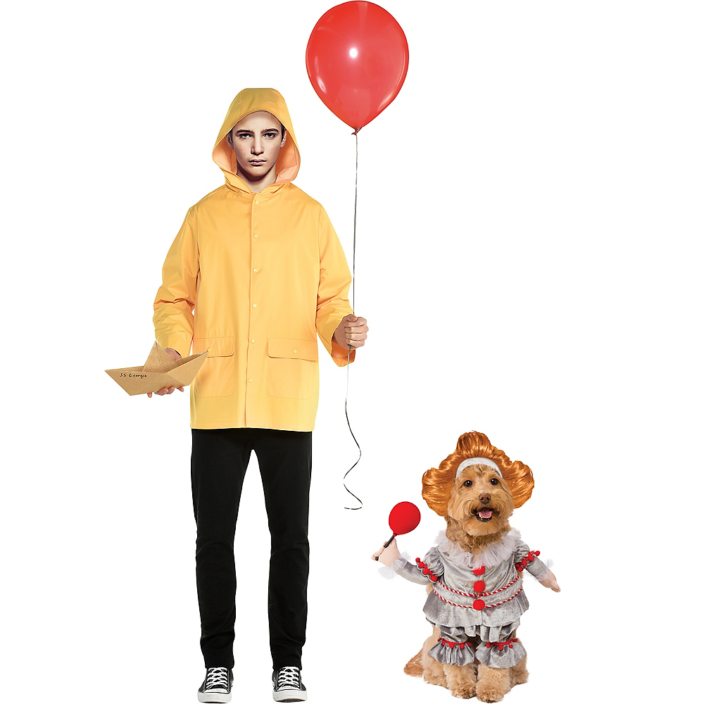 Adult Georgie & Walking Pennywise Doggy & Me Costumes - It Image #1