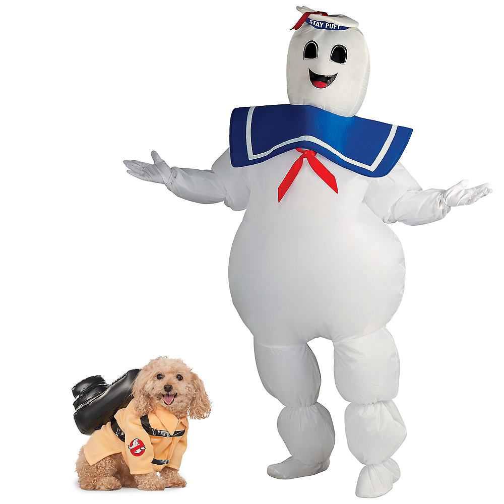 Adult Inflatable Stay Puft Marshmallow Man & Ghostbusters Jumpsuit Doggy & Me Costumes Image #1