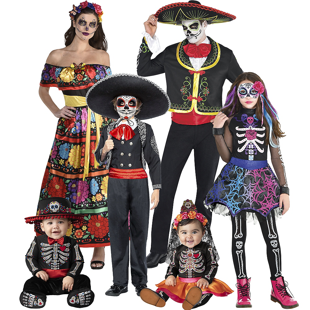 Adult Lacy & Traditional Day of the Dead Couples Costumes Image #1