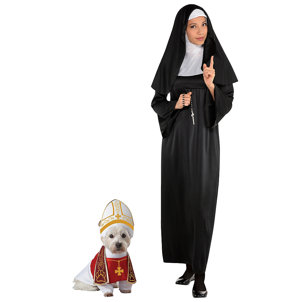 Adult Holy Sister Nun Costume & Holy Hound Doggy & Me Costumes Image #1