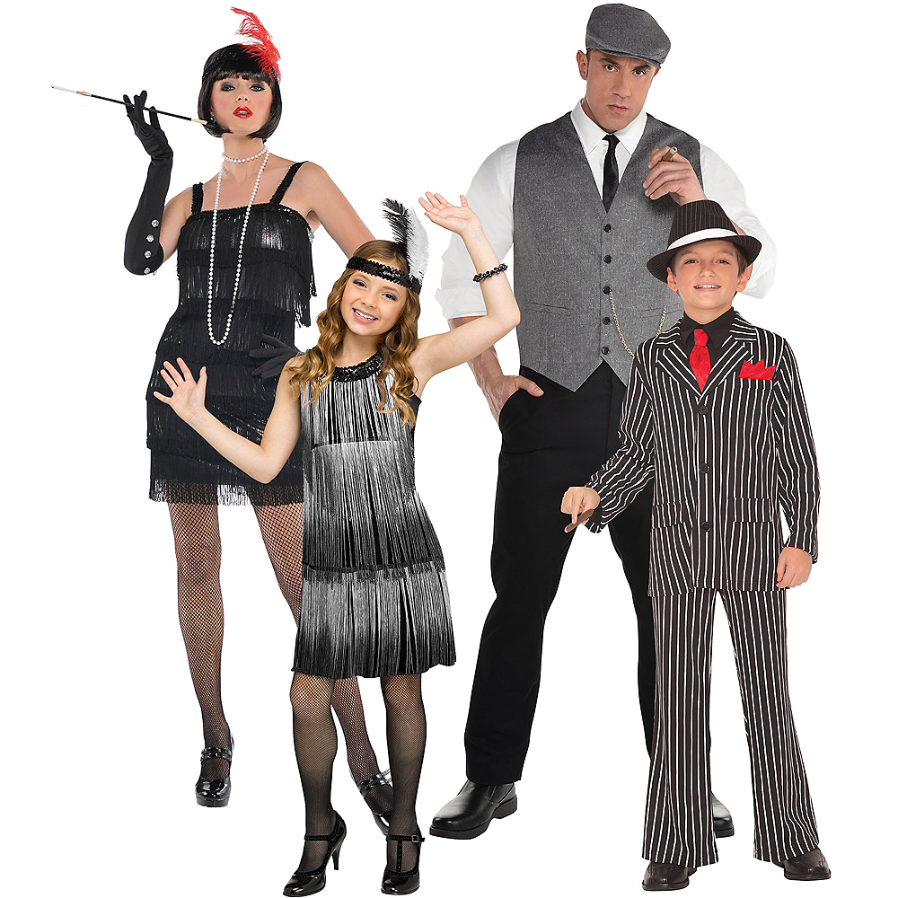 Gold Flirty Flapper & Roaring 20s Dapper Man Couples Costumes for Adults Image #1