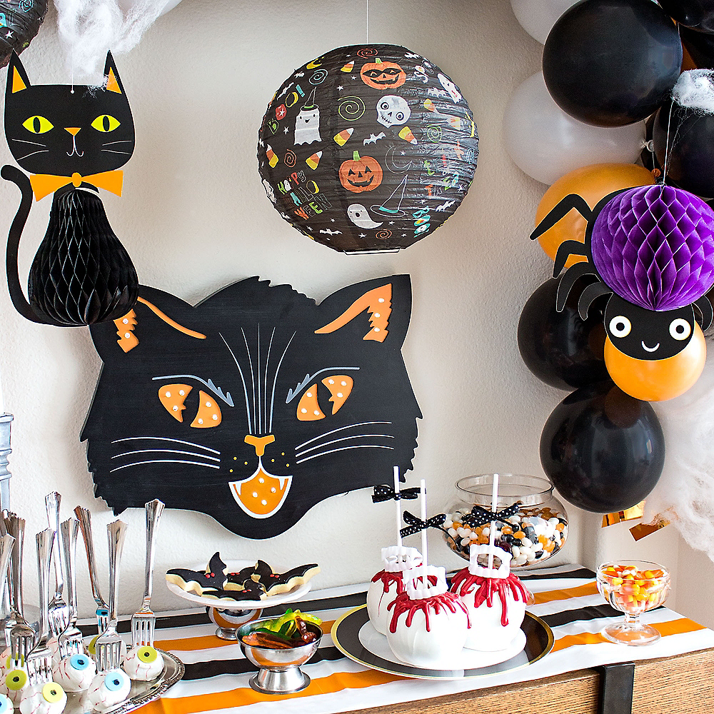 Black Cat Halloween Customizable Treat Table Decorating Kit Image #1