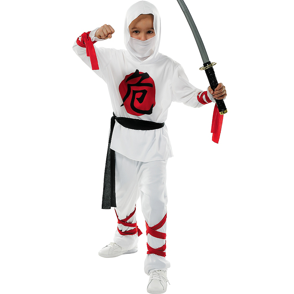 Boys White Warrior Ninja Costume Image #1