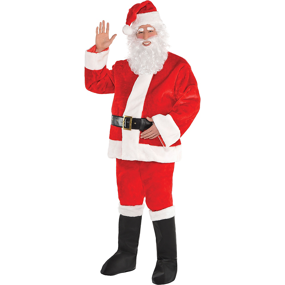Adult Plush Red Santa Suit  Image #1