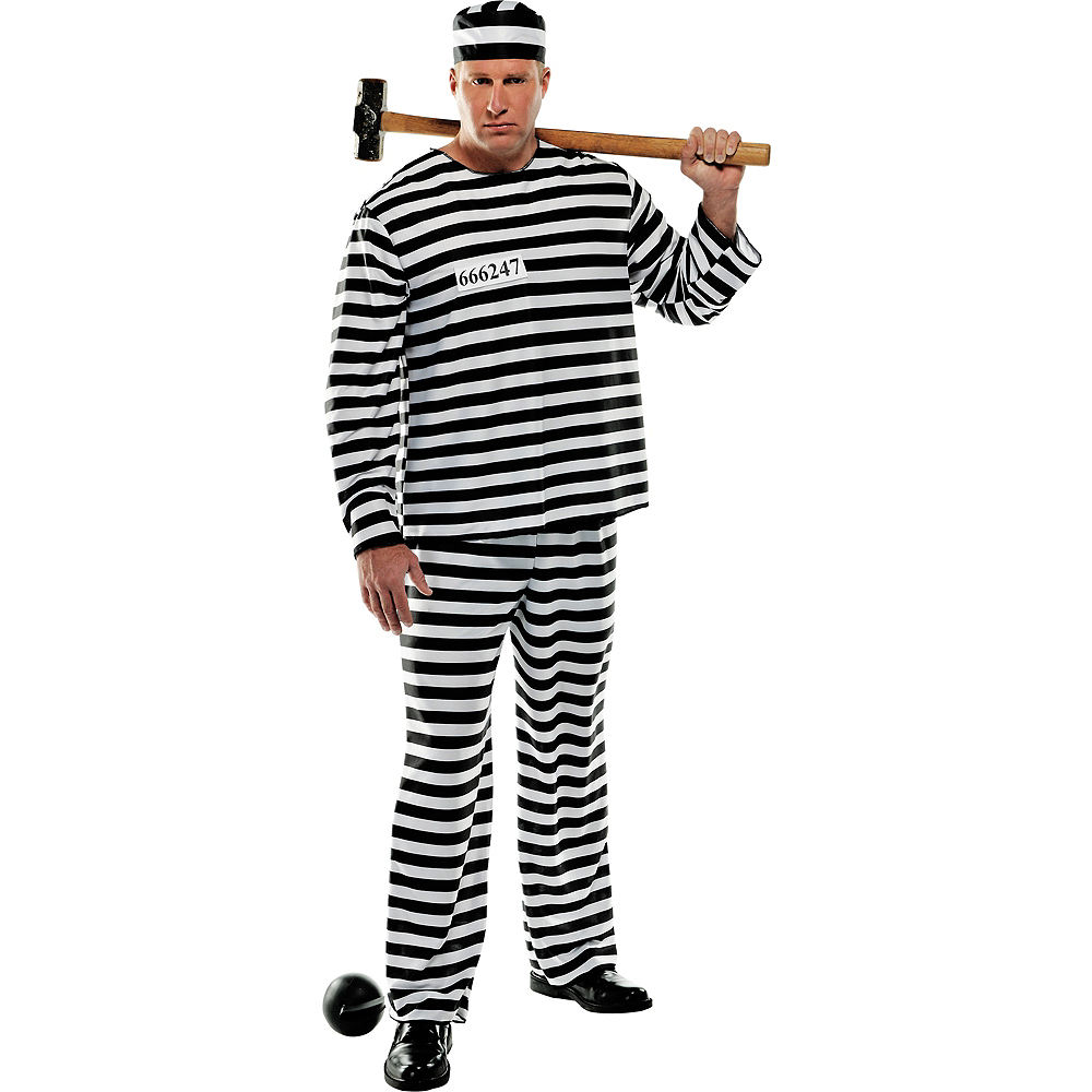 Adult Jail Bird Convict Prisoner Costume Plus Size Image #1