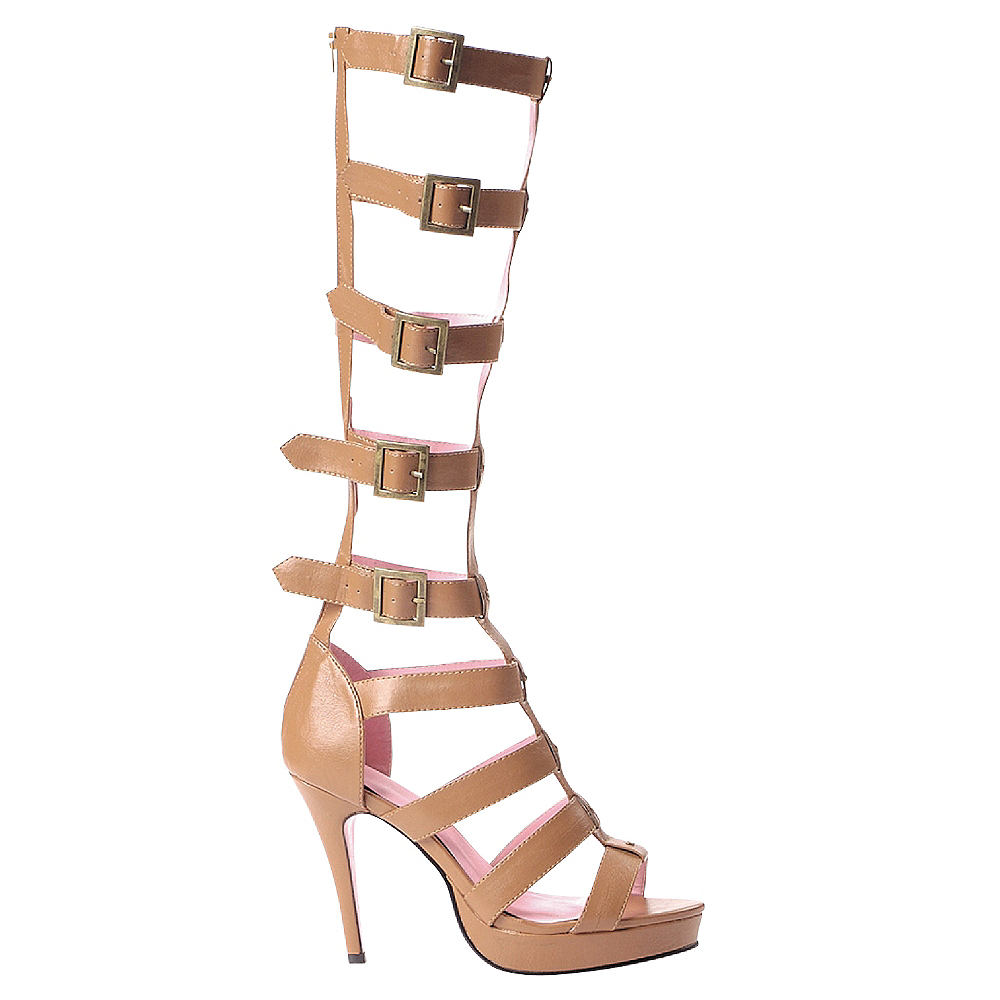 Tan Multi-Strap Knee High Sandals Image #1