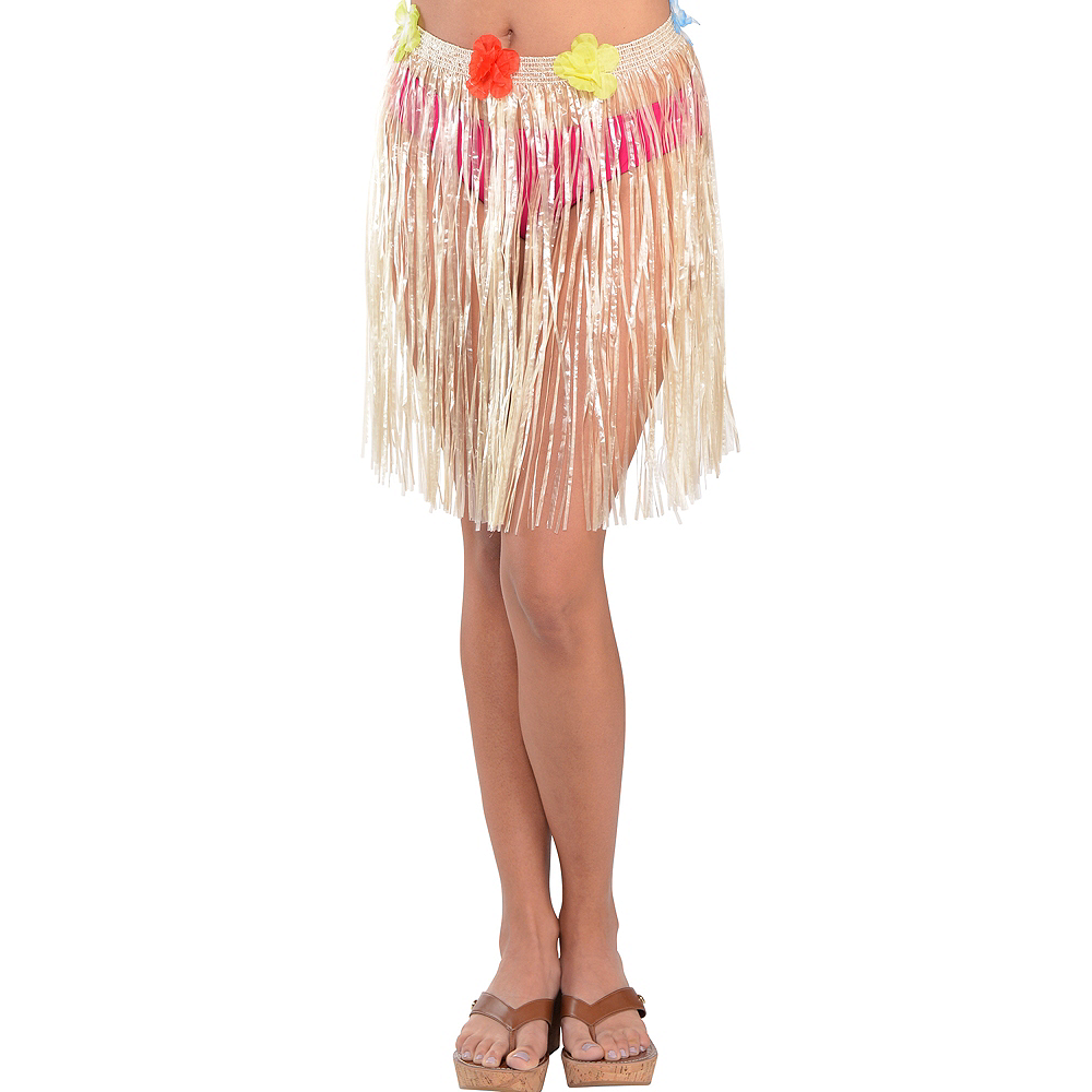 Adult Plastic Mini Hula Skirt Image #1