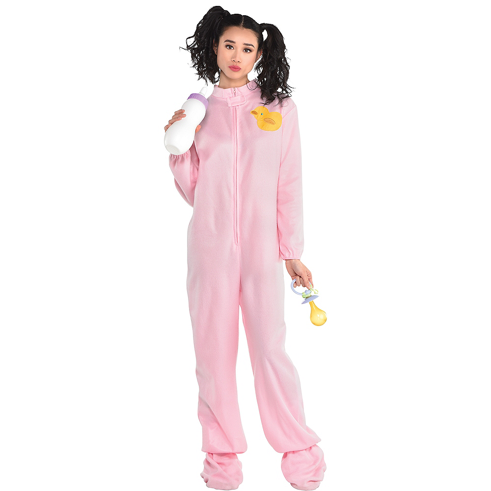 Nav Item for Adult Pink Footie Pajamas Costume Image #1