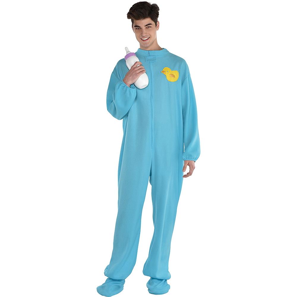 Adult Blue Footie Pajamas Costume Image #1