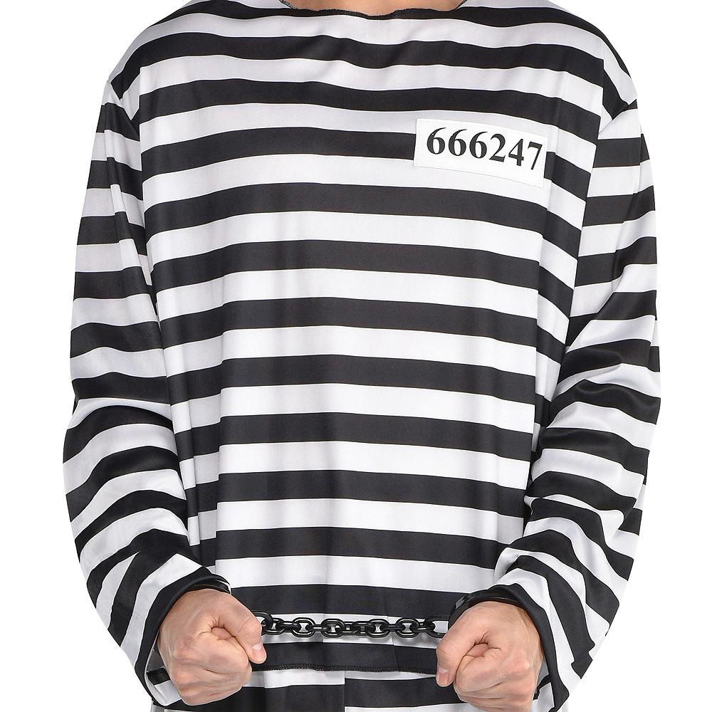 Adult Jail Bird Convict Prisoner Costume Image #4