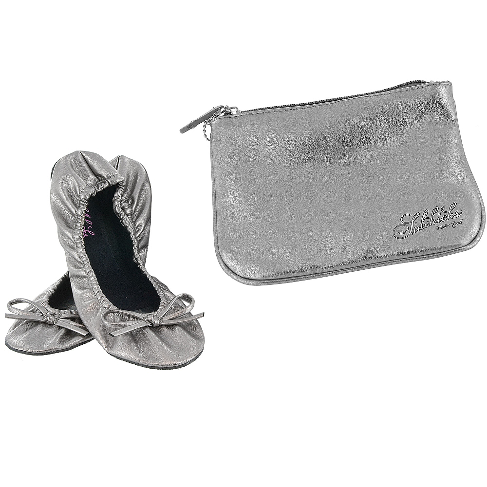 58bc420fc Sidekicks Silver Travel Ballet Flats | Party City