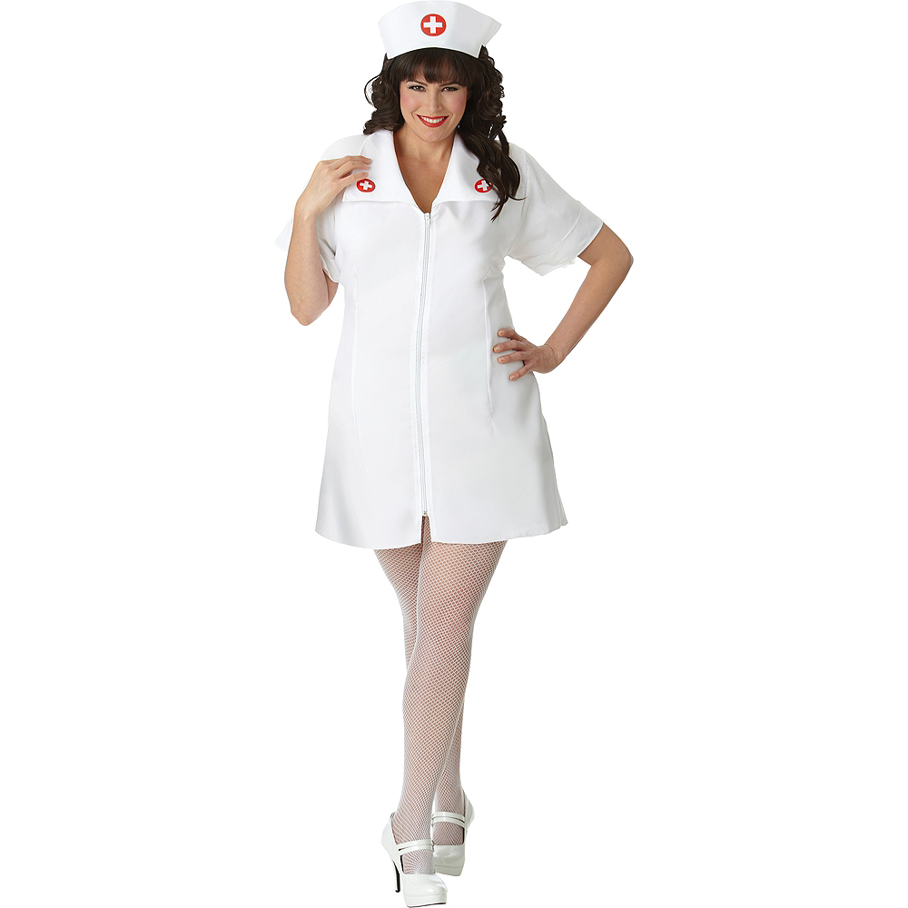Nav Item for Adult Hospital Honey Nurse Costume Plus Size Image #1