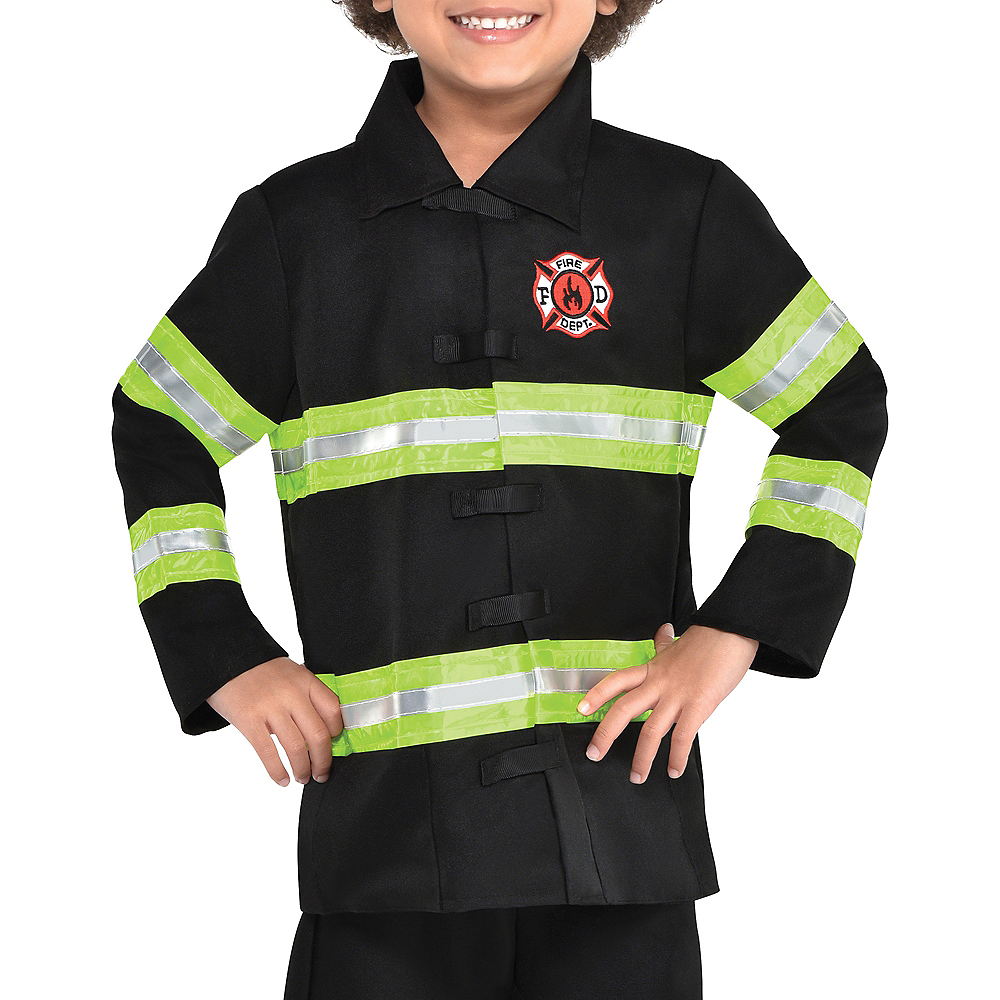 Nav Item for Boys Reflective Firefighter Costume Image #3