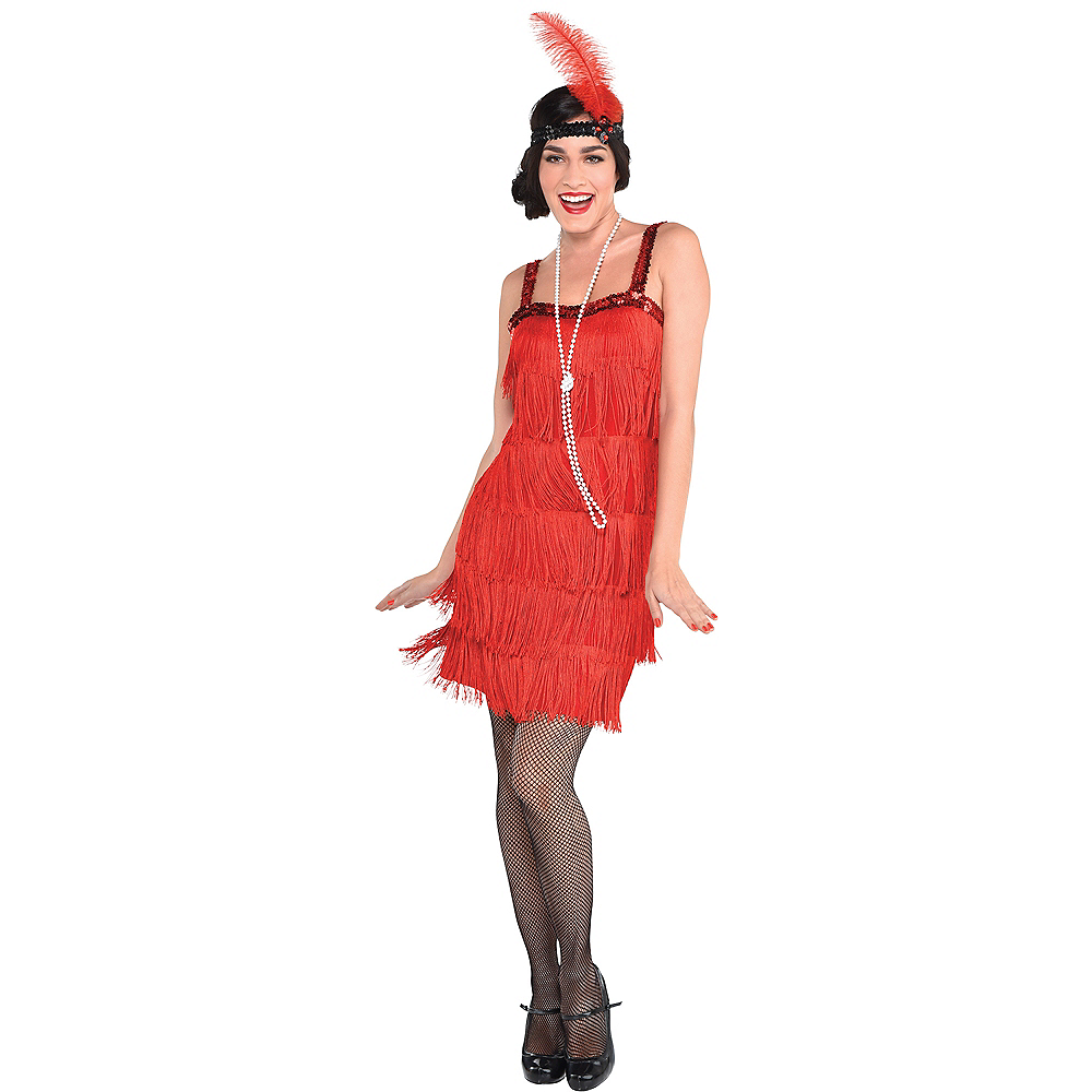 Adult Red Flapper Dress Image #1