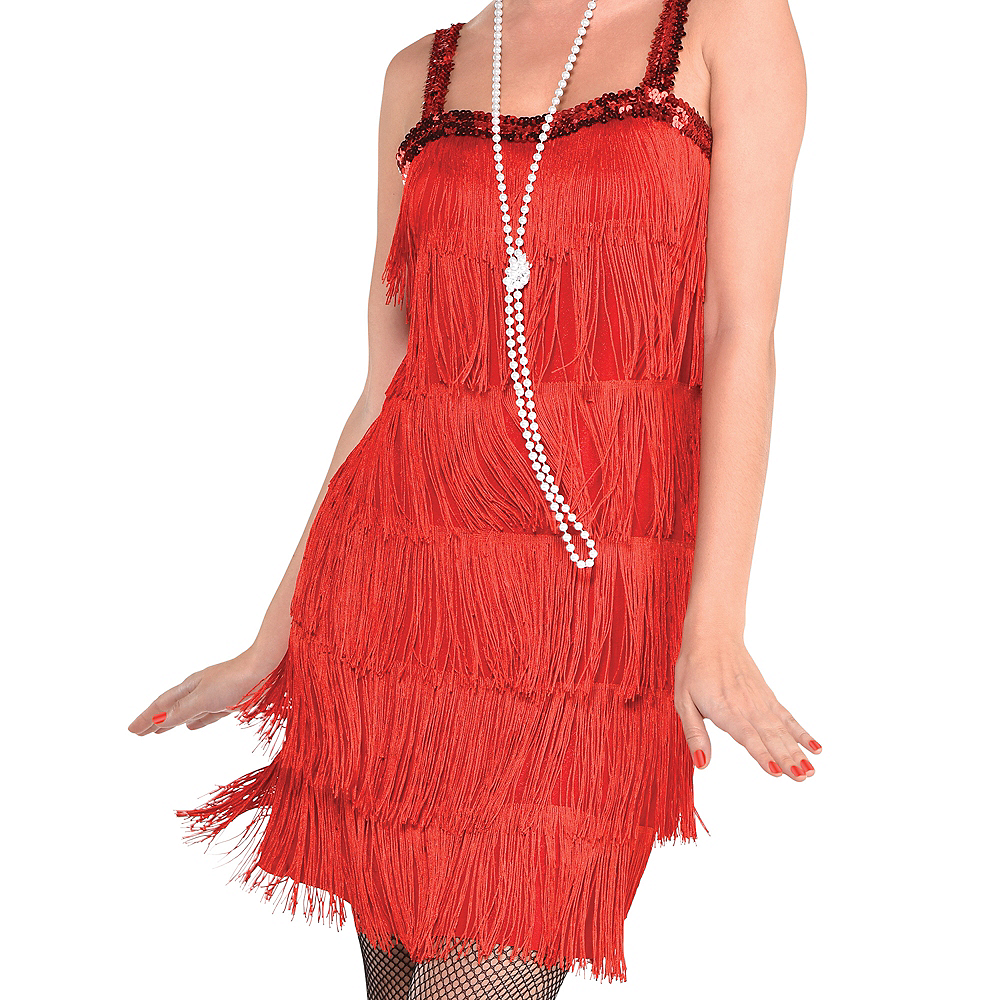 Adult Red Flapper Dress Image #2