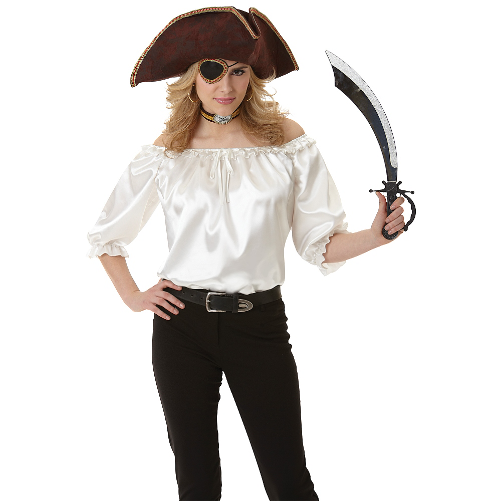 Ivory Satin Pirate Blouse Image #2