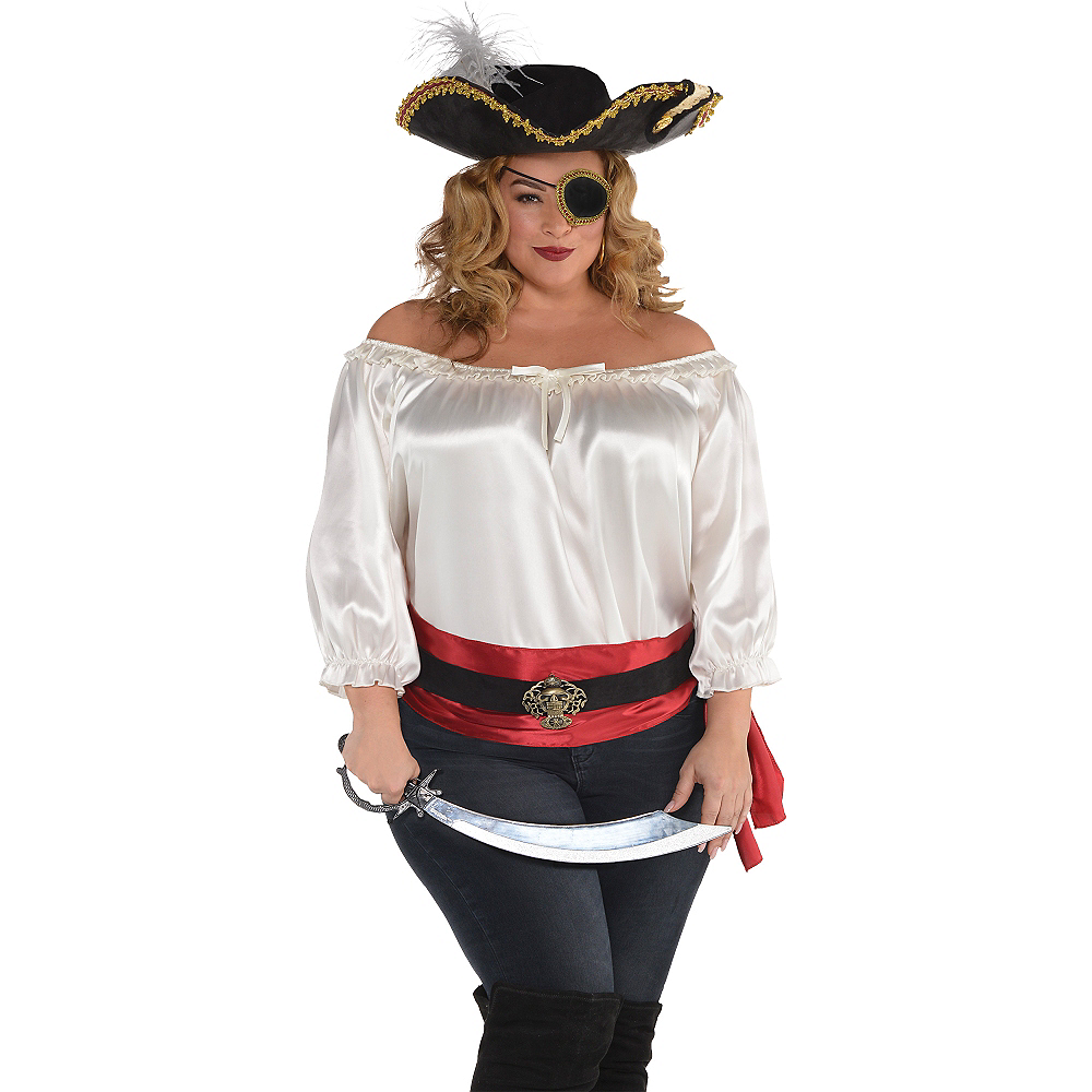 Ivory Satin Pirate Blouse Image #3