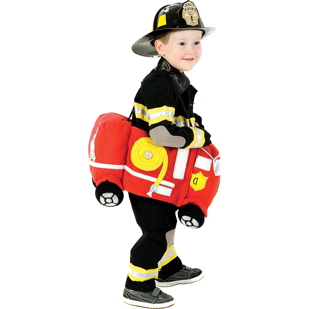 Toddler Plush Ride-On Firetruck Costume Image #1