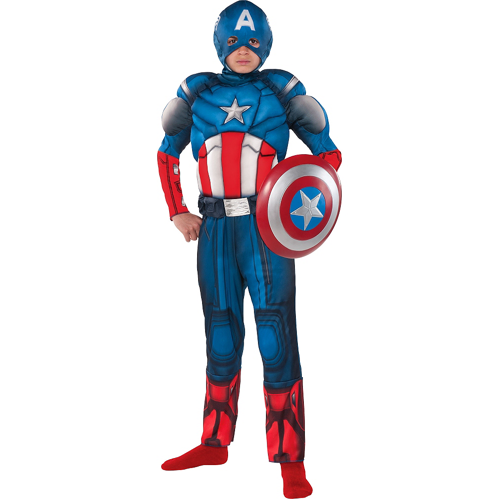 Boys Captain America Muscle Costume Image #1