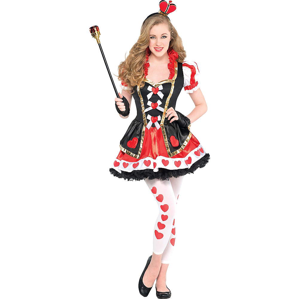 nav item for teen girls sassy queen of hearts costume image 1