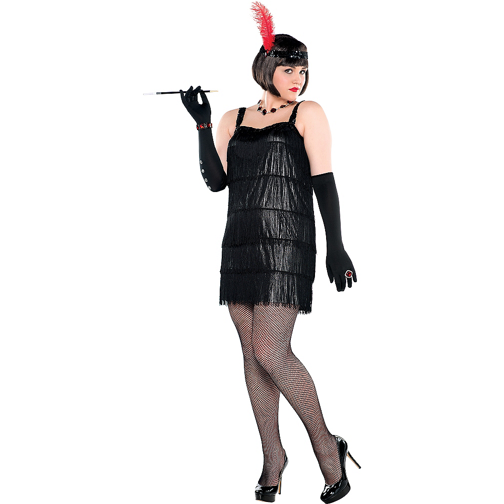 Adult Flashy Flapper Costume Plus Size Image #1