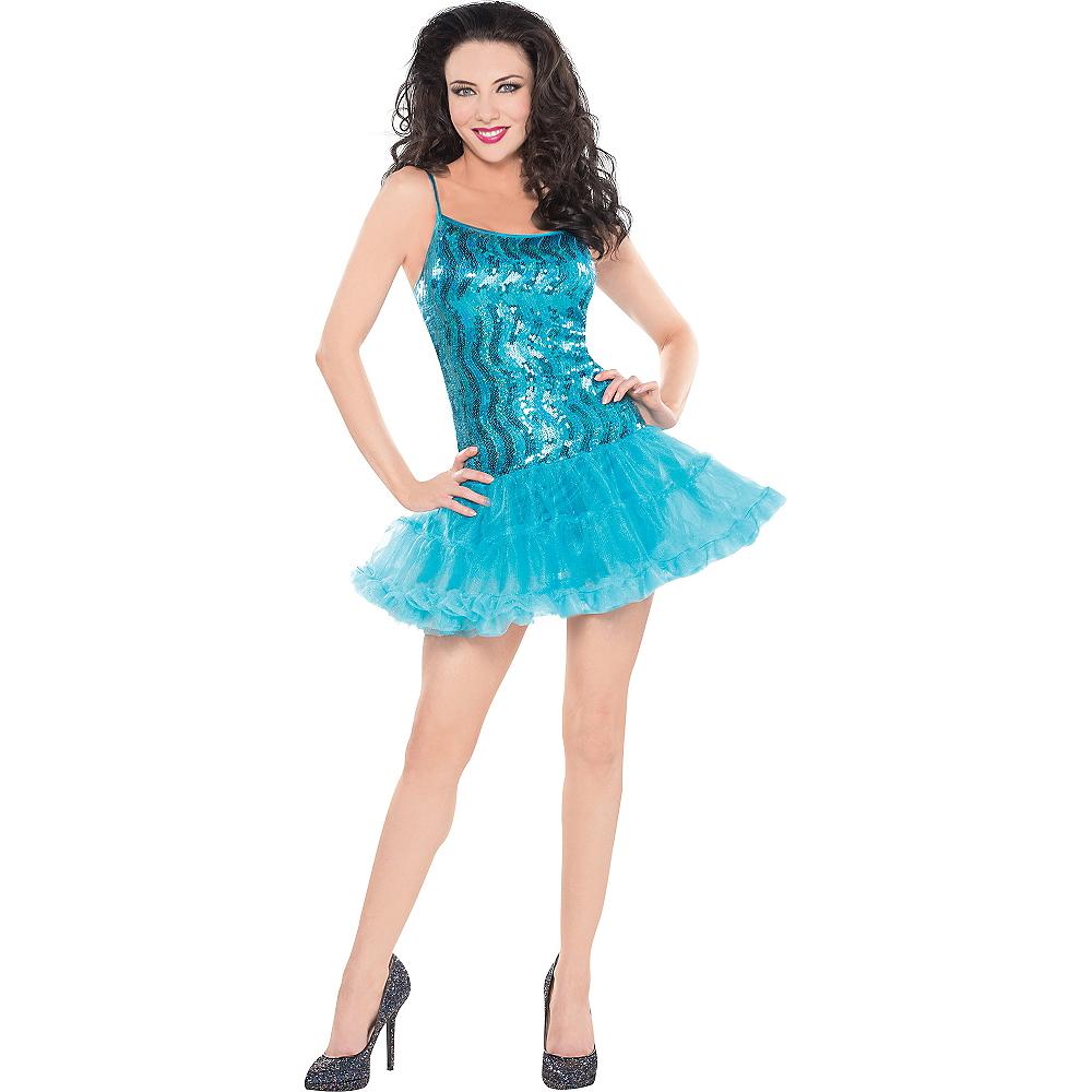 Blue Sequin Petticoat Dress Image #1