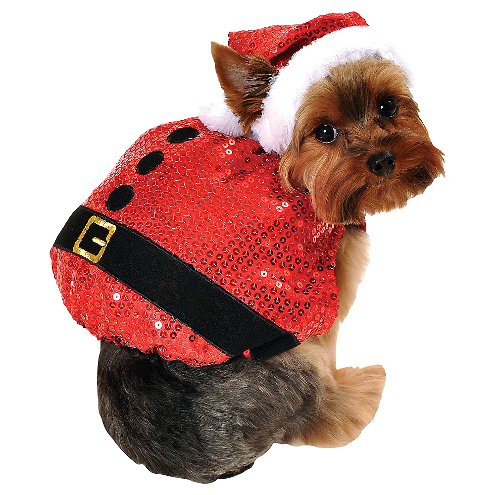 Sequin Santa Dog Costume Image #1