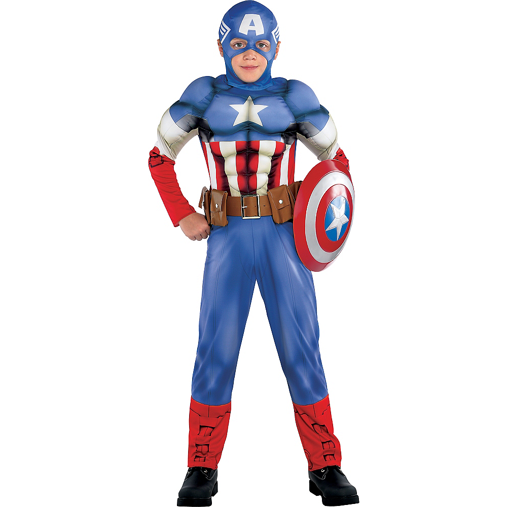 Boys Captain America Muscle Costume Classic Image #1