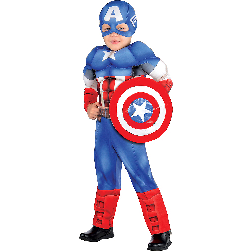 Toddler Boys Captain America Muscle Costume Classic Image #1