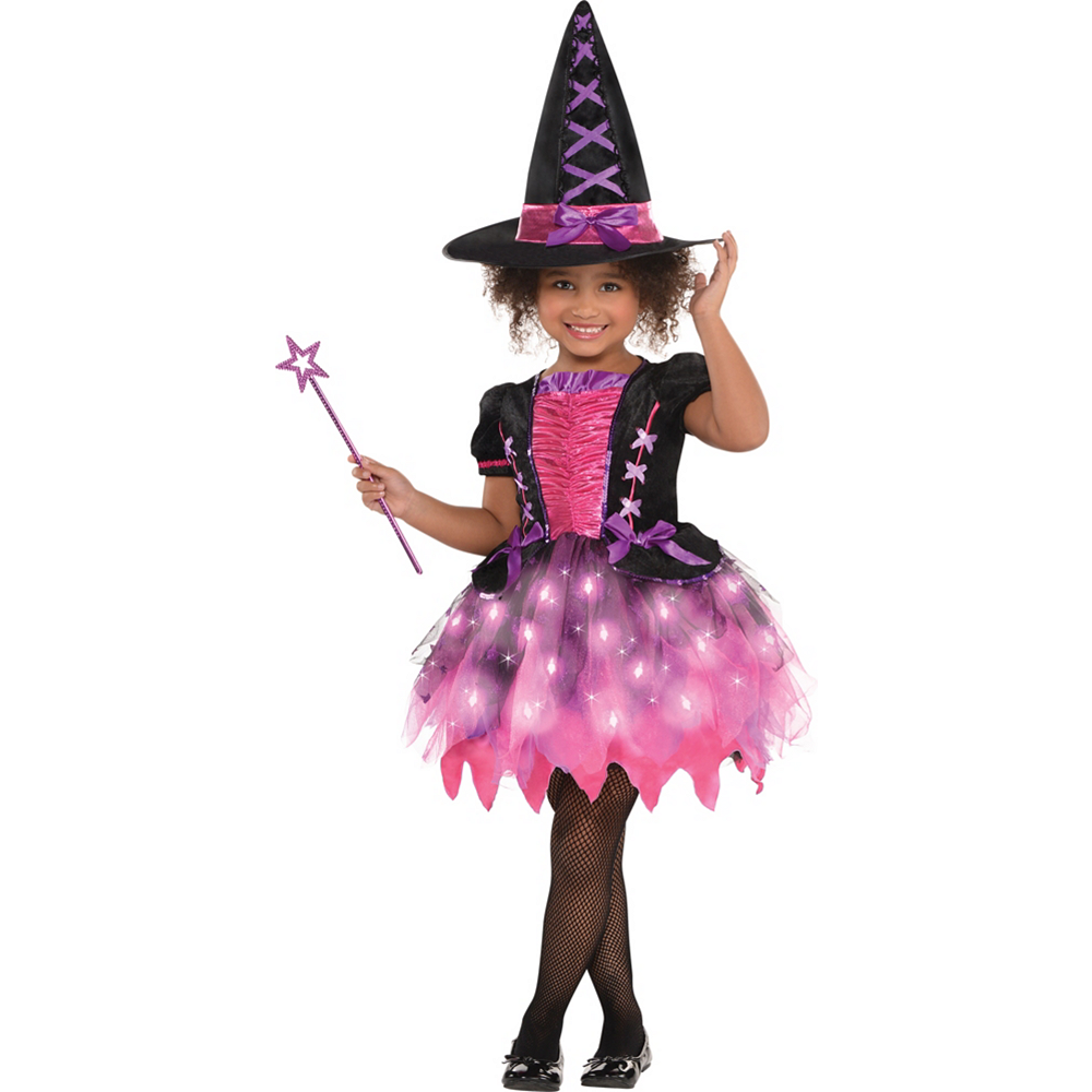 Nav Item for Girls Light-Up Sparkle Witch Costume Image #1