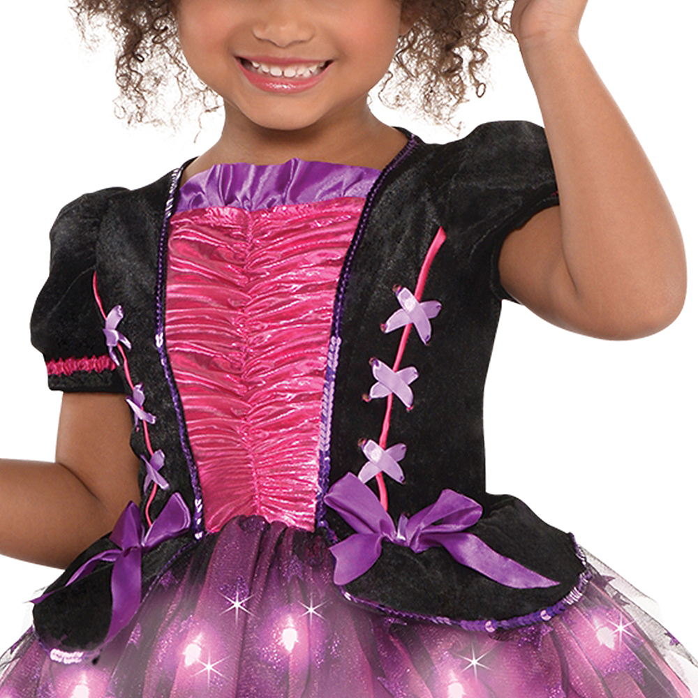 Nav Item for Girls Light-Up Sparkle Witch Costume Image #3