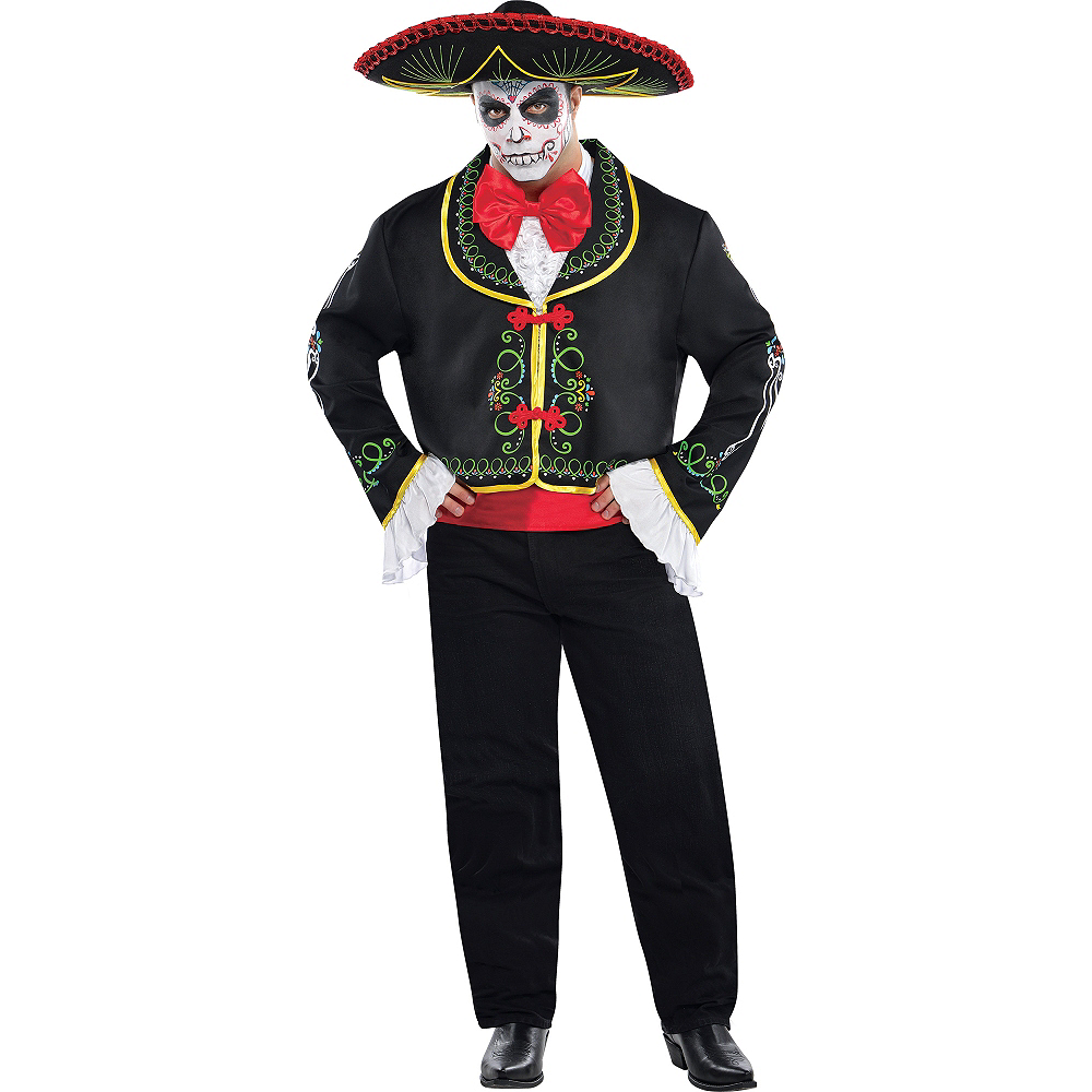 Adult Day of the Dead Sombrero Senor Costume Plus Size Image #1