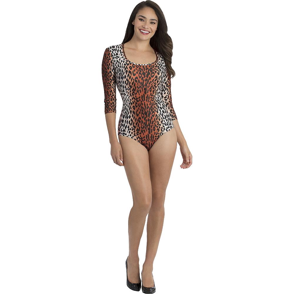 Adult Leopard Three-Quarter-Sleeve Bodysuit Image #1
