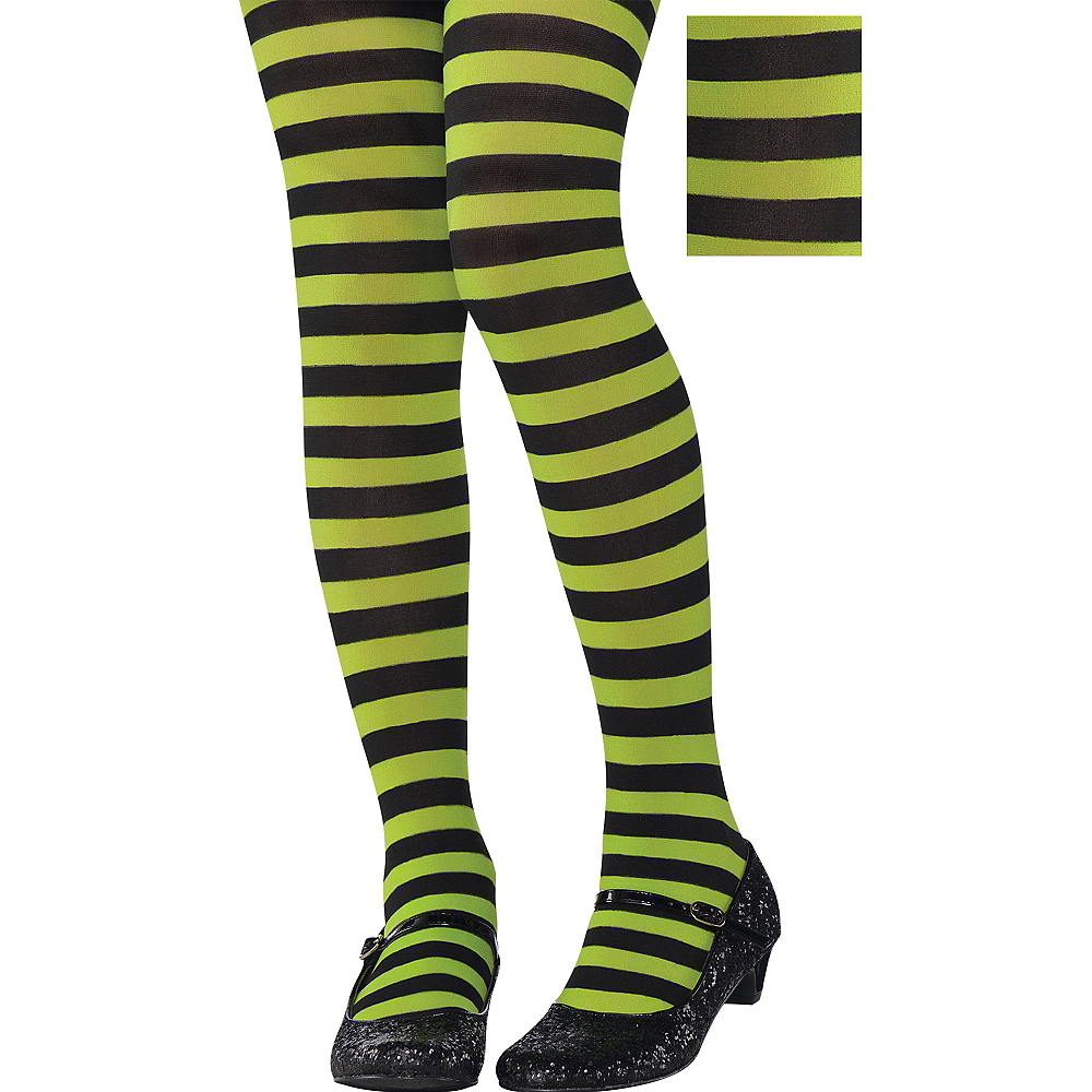 Child Green & Black Striped Tights Image #1
