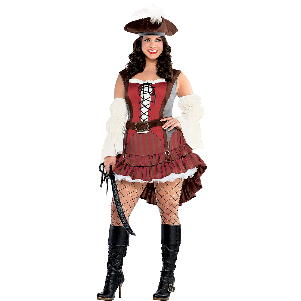 Adult Castaway Pirate Costume Plus Size Image #1