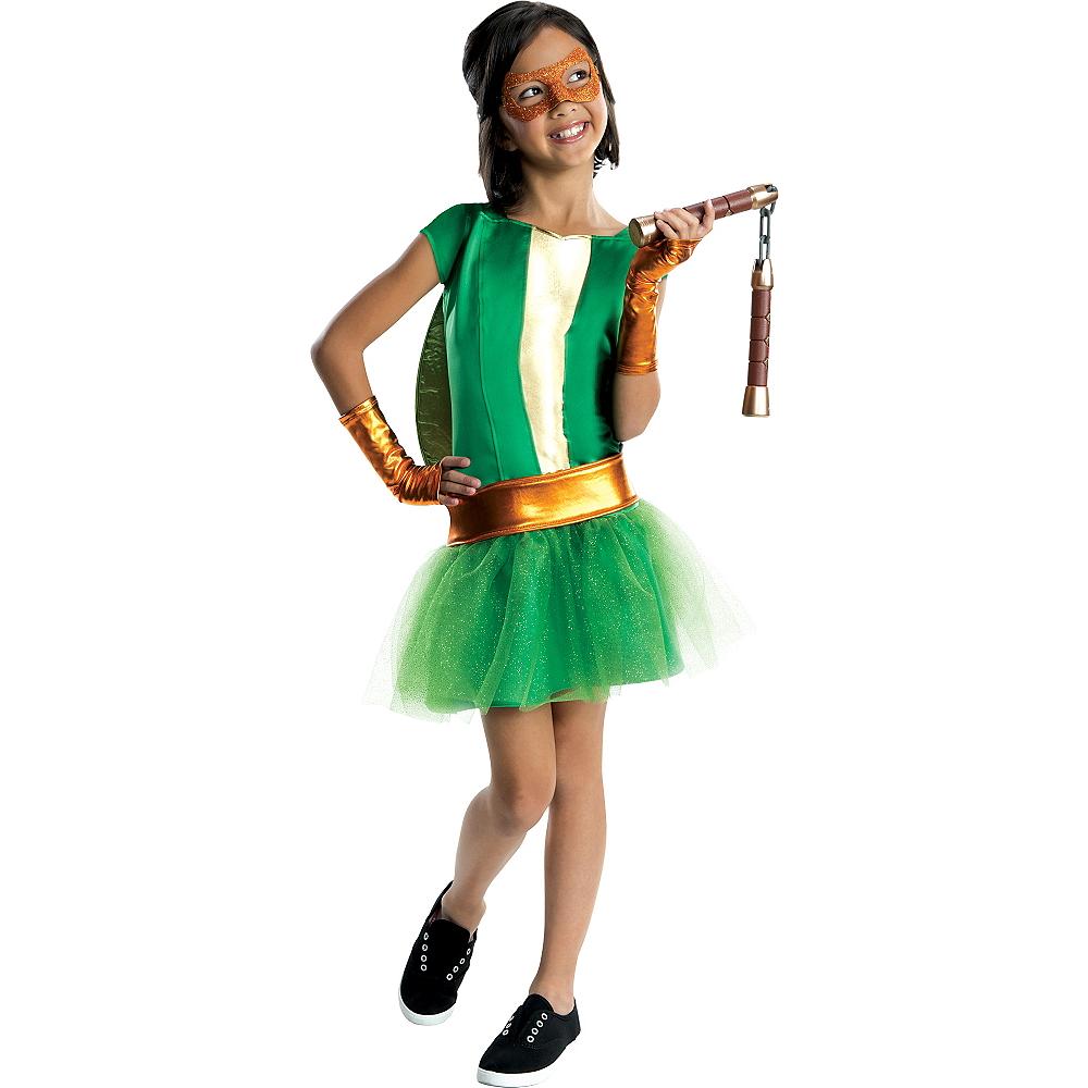 Girls Michelangelo Costume Deluxe - Teenage Mutant Ninja Turtles Image #1