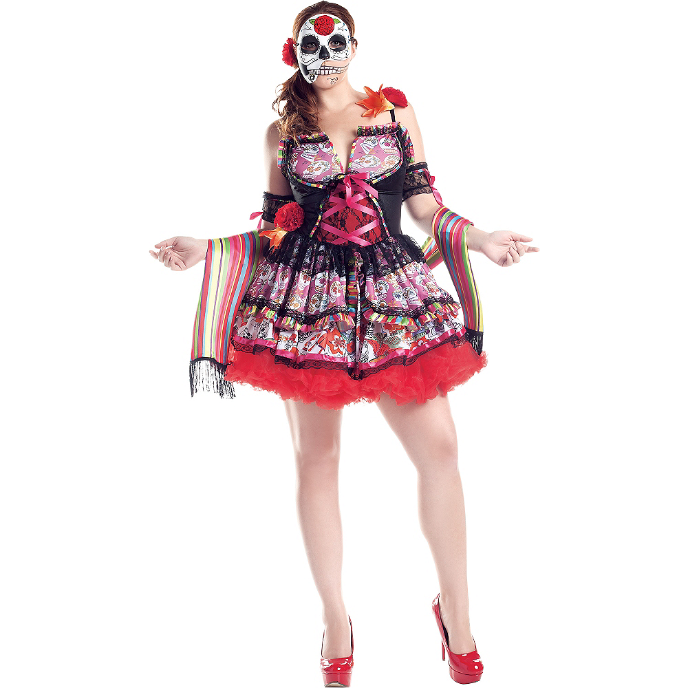 Adult Exuberante Day of the Dead Costume Plus Size Image #1