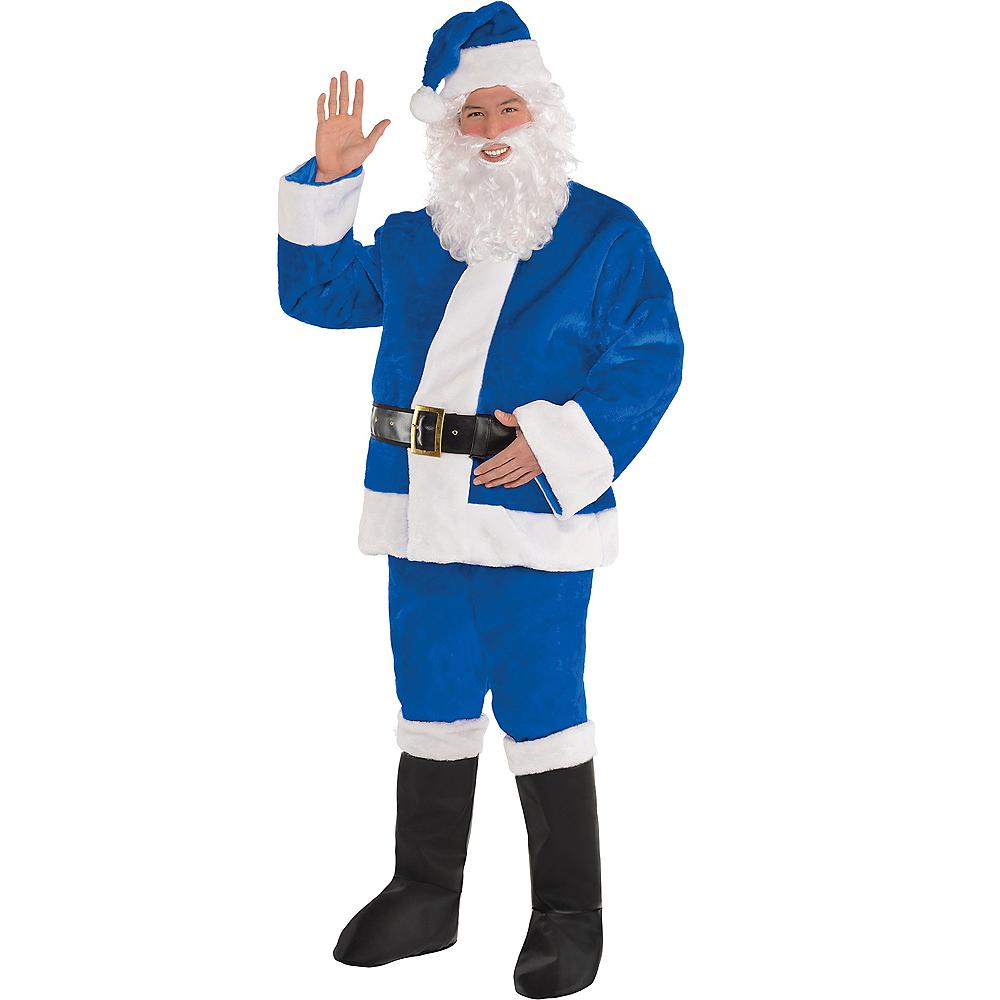 Adult Plush Blue Santa Suit Image #1
