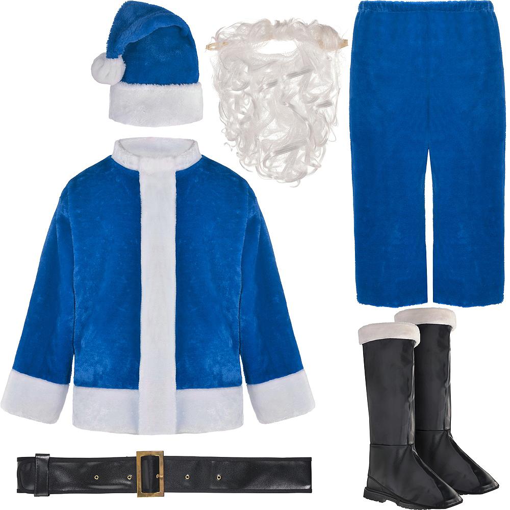 Adult Plush Blue Santa Suit Image #2