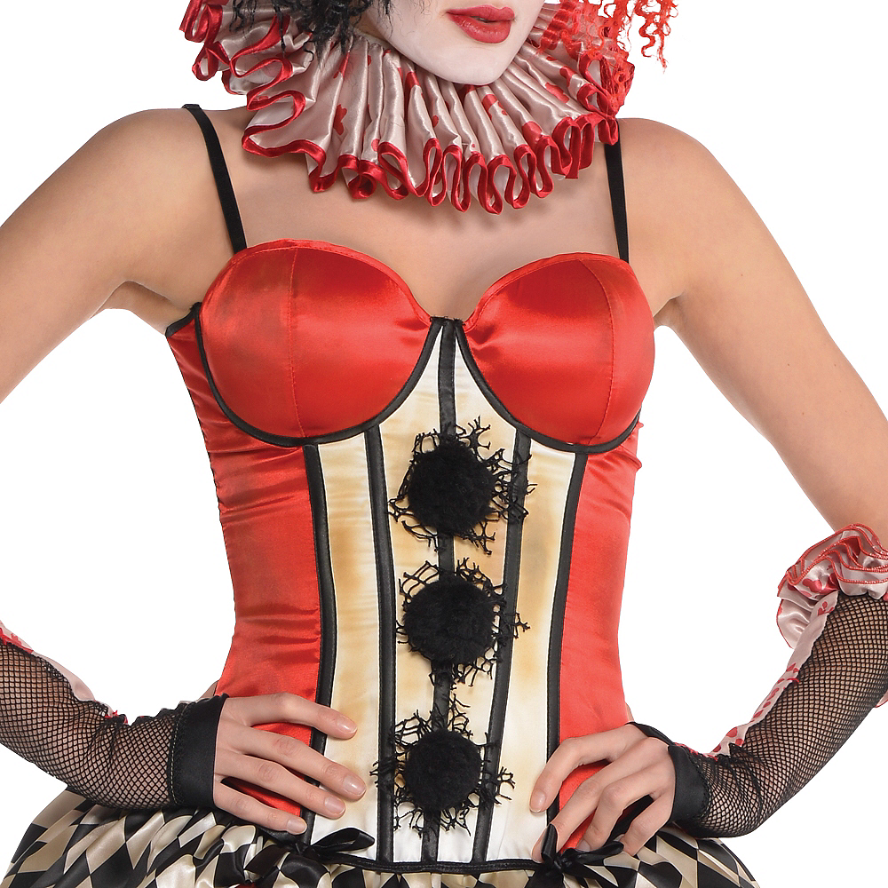 Red Vintage Clown Corset - Freak Show Image #2